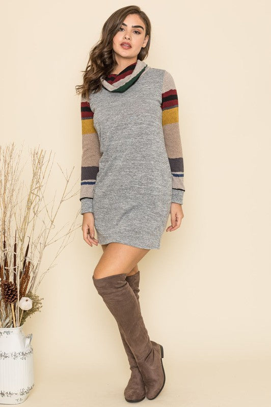 Cowl Neck Stripe Contrast Shift Dress