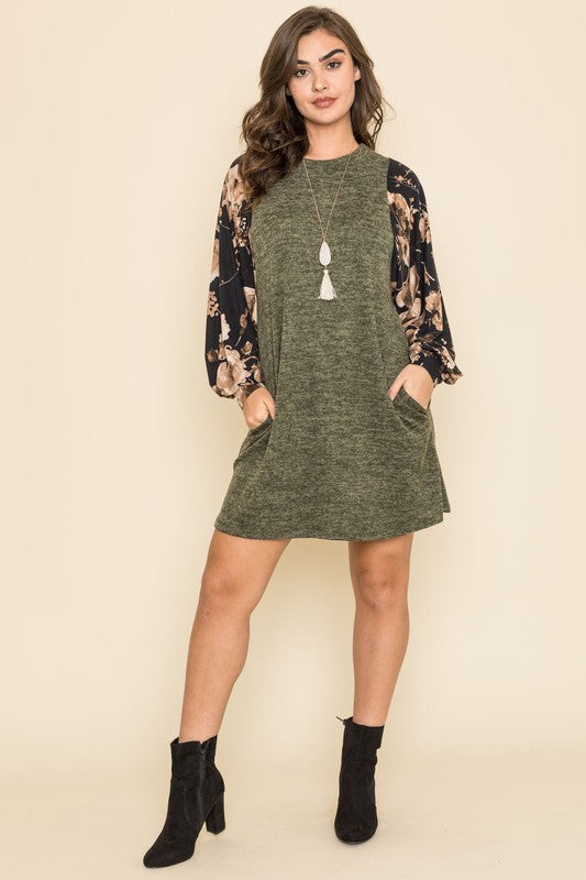 Leaf Print Bishop Sleeve Dress