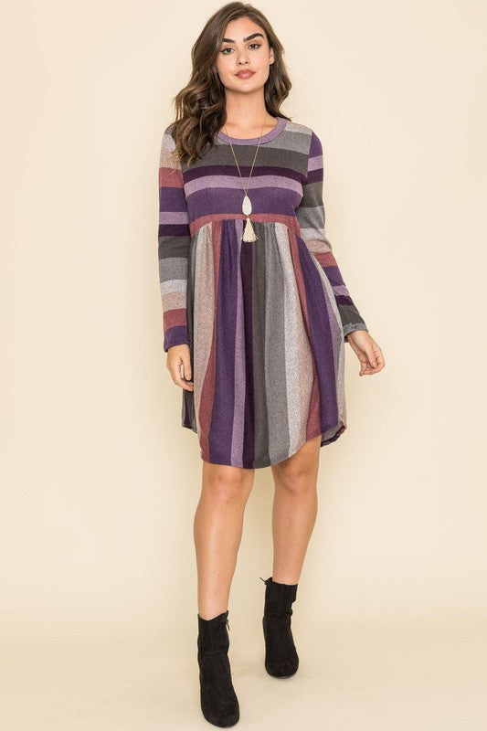 Striped Curve Hem Pocket Dress