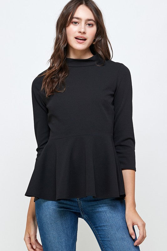 3/4 Sleeve Mock Neck Peplum Top