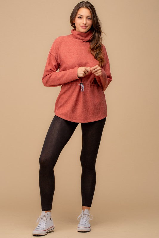 Drawstring Turtleneck Pullover