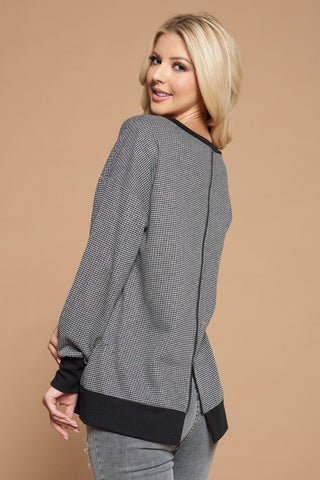 Zip Back Mini Grid Sweatshirt