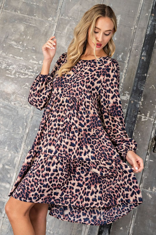 Cheetah Print Babydoll Dress