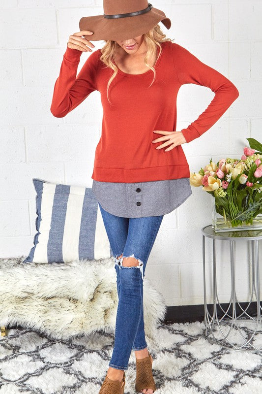 Knit Top with Button Detail