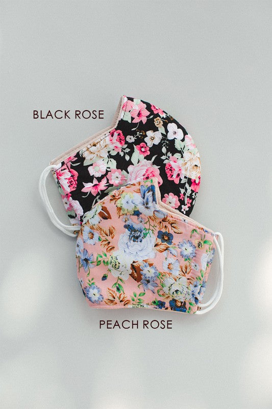 Black Rose Floral Face Mask
