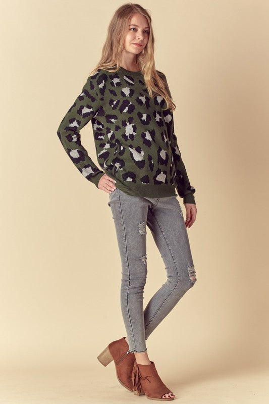 Tie Back Leopard Print Pullover