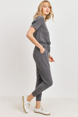 French Terry Puff Sleeve Jumpsuit