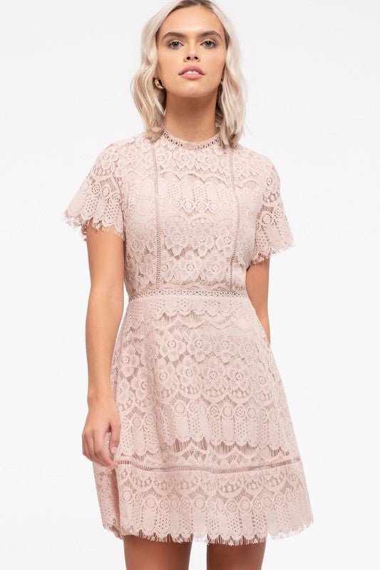 Mock Neck Lace Mini Dress