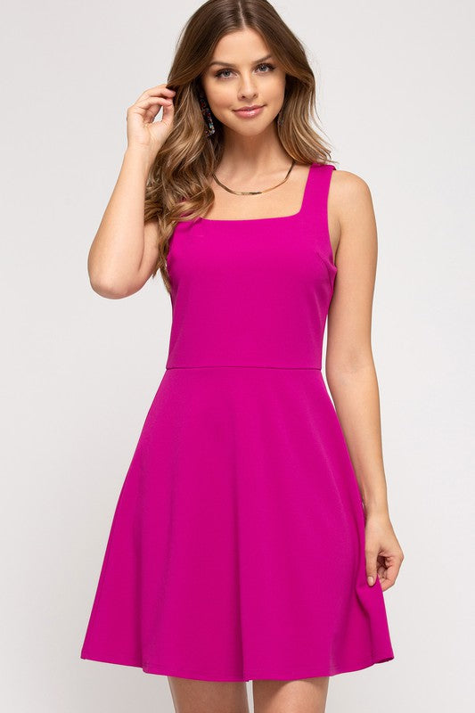 Sleeveless Fuchsia Skater Dress