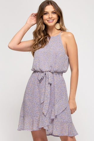 Lilac Ruffle Detail Floral Dress