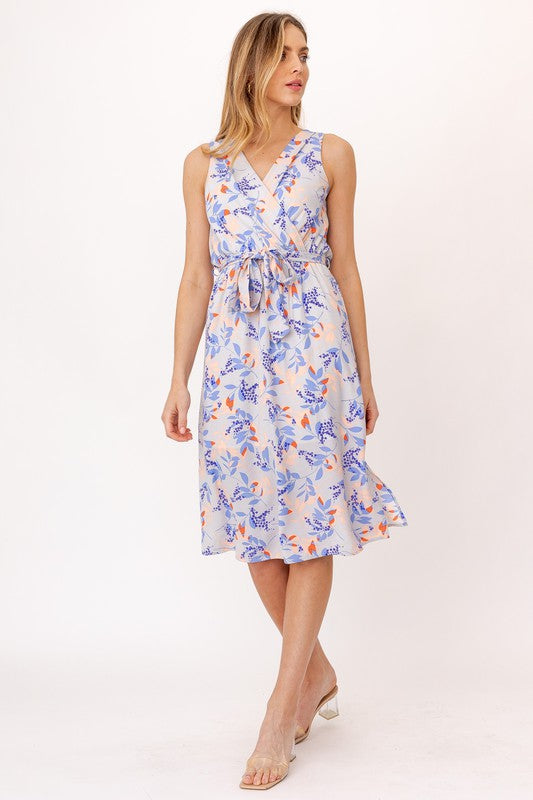 Crossover Floral Print Midi Dress