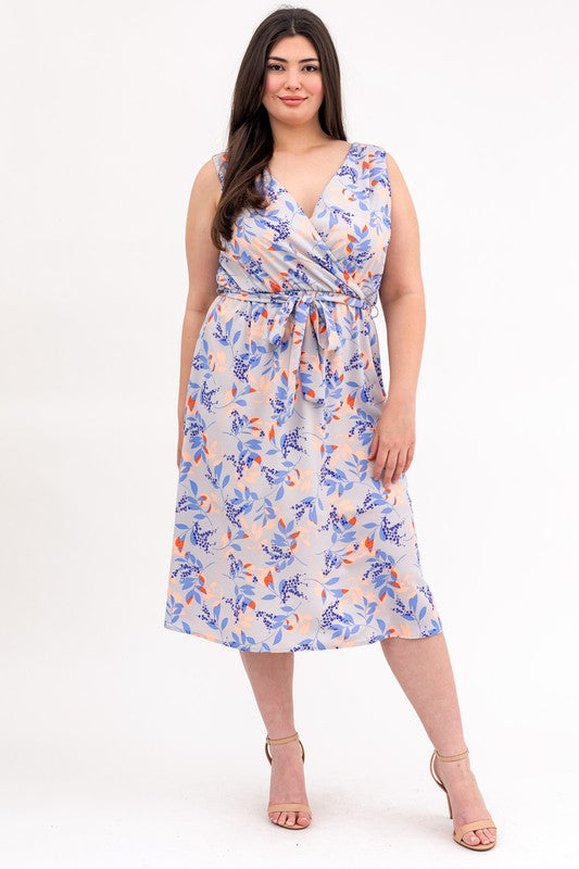 Crossover Floral Print Midi Dress (Plus Size)