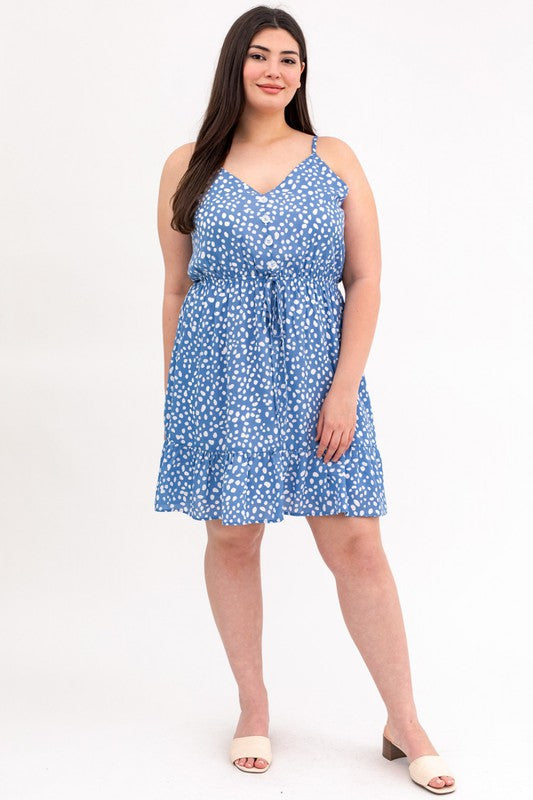 Button Front Ruffle Hem Dress (Plus Size)