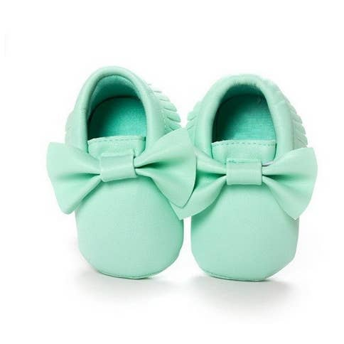 Moccasins With Bow & Fringe - Mint Green