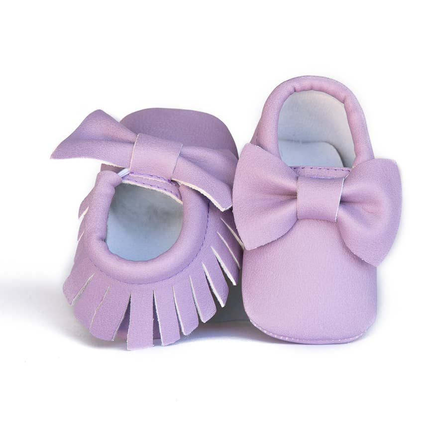 Moccasins With Bow & Fringe - Lavender