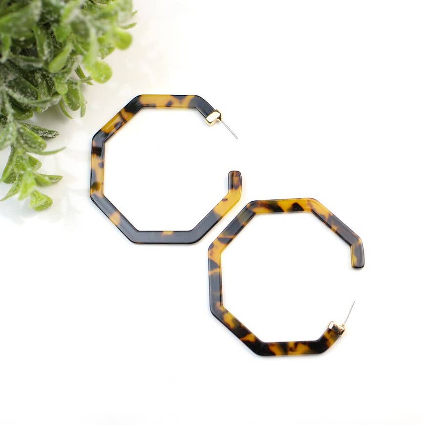 Olivia Dark Tortoise Octagon Hoop Earrings