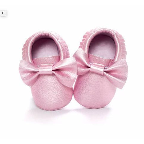 Moccasins With Bow & Fringe - Pink Metallic