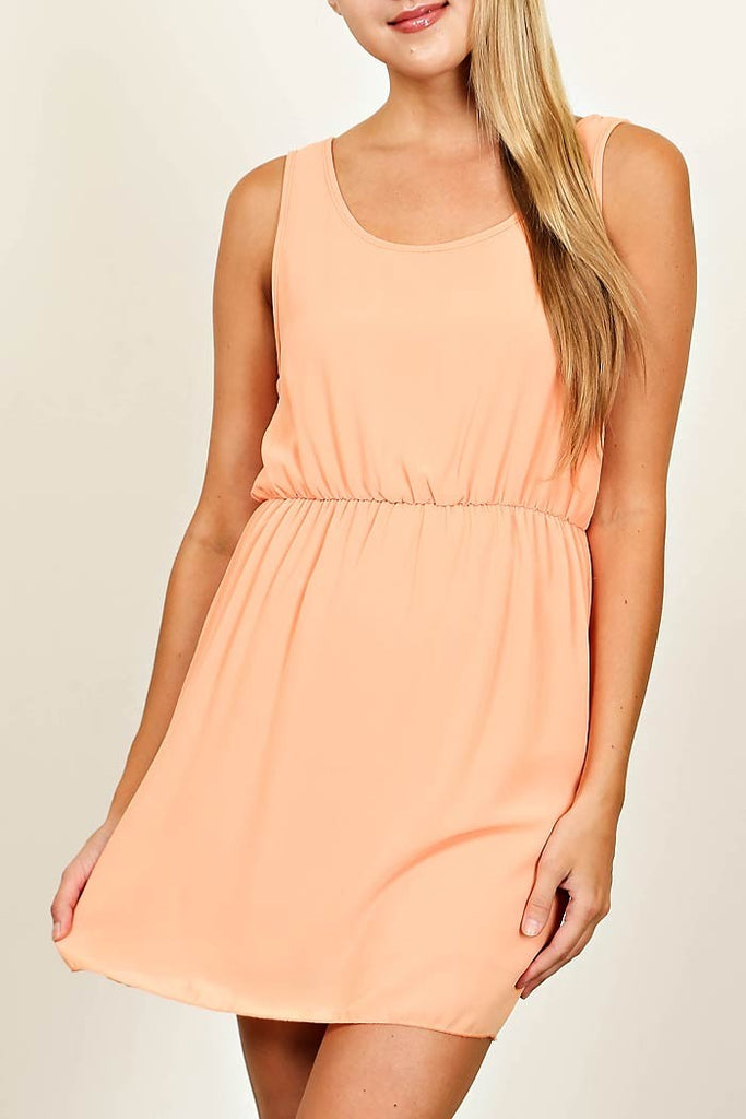 Peach Dress with Back Cutout Detail