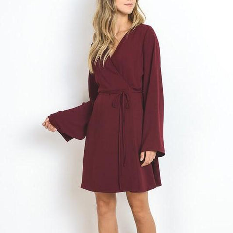 Bell Sleeve Wrap Dress