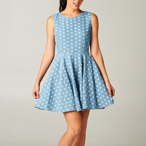 Flare Denim Dress with Polka Dots