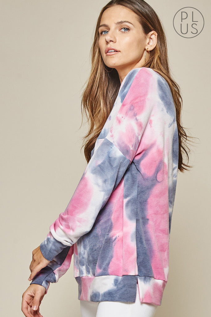 Long Sleeve Tie Dye Top (Plus Size)