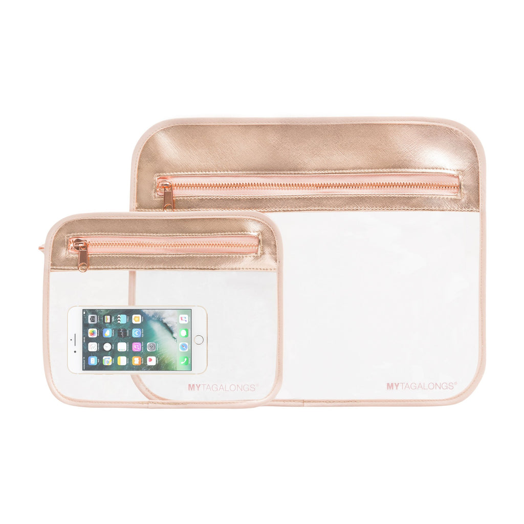 My Tagalongs - Odyssey Splash Proof Pouches in Rose Gold (set of 2!)
