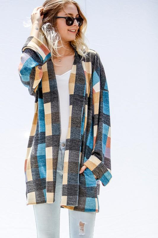 Multicolour Plaid Cardigan With Pockets