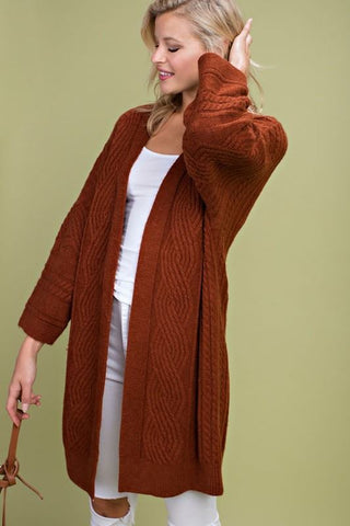 Rust Open Front Knit Cardigan