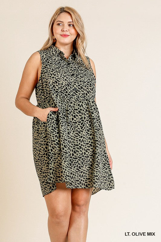 Sleeveless Collared Shirt Dress