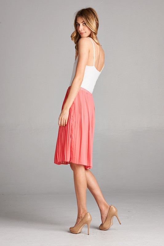Women's Skirt Trendy Pleats Elastic Waist Coral Color