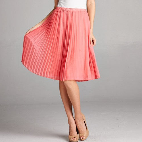 Cute Women's Pleated Coral Skirt