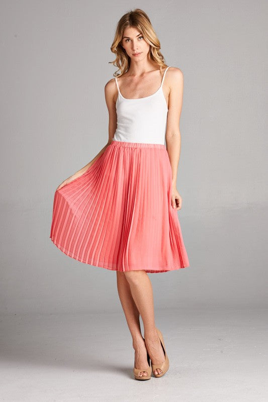 Women's Boutique Coral Pleated Knee Length Skirt