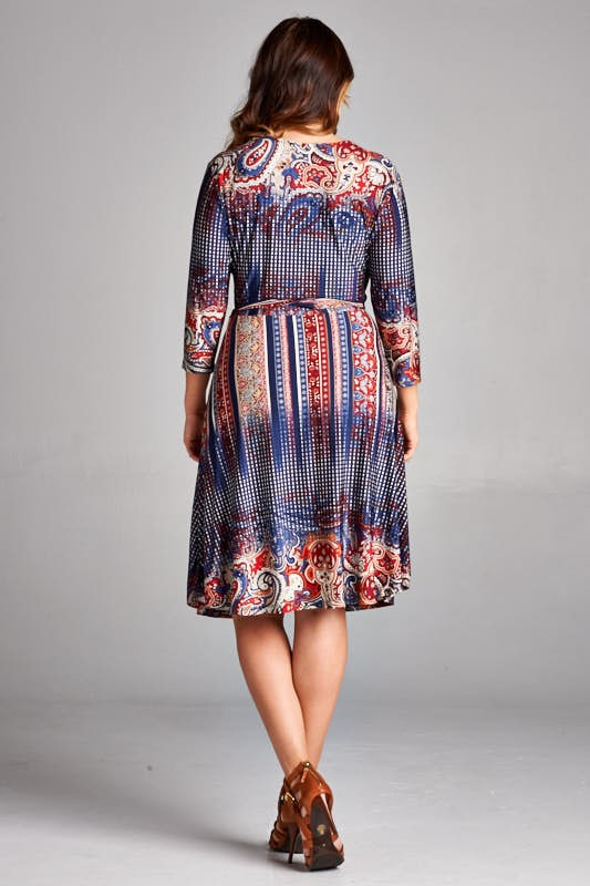 Navy Red Pattern Dress