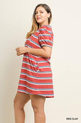 Striped Dress with Puff Sleeves