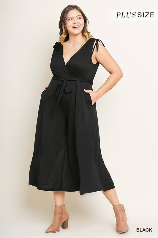 Sleeveless Jumpsuit with Tie Waist