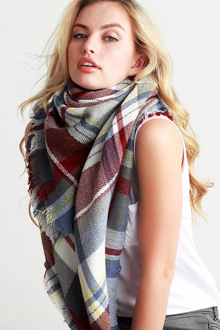 Multi Color Plaid Oversized Blanket Scarf