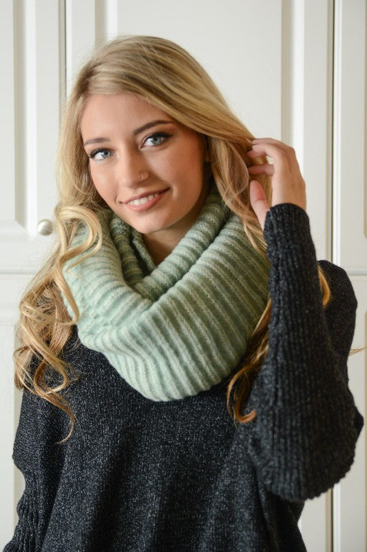 Mint Ribbed Infinity Scarf