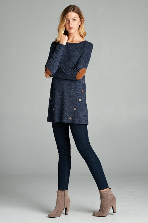 Top with Elbow Patches and Faux Button Detailing