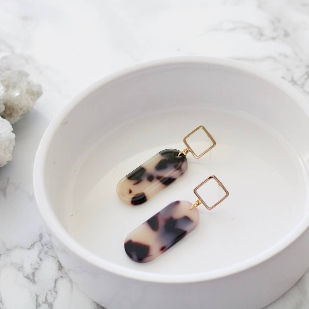 Square Stud Acetate Earrings – Blonde Tortoise