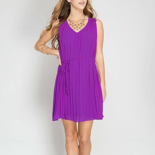 purple pleated sleeveless dress