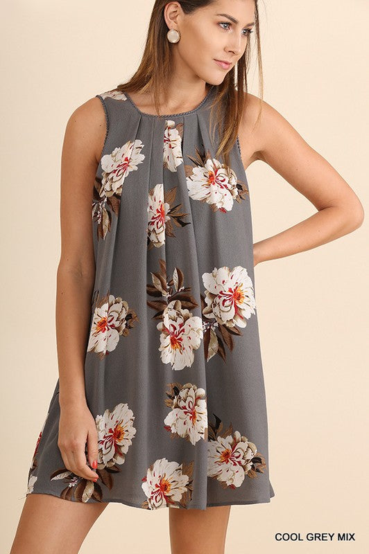 Grey Floral Sleeveless Dress