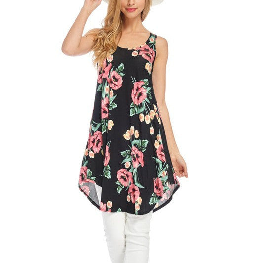 sleeveless plus size tank dress with black and coral floral print