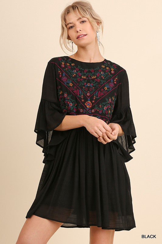 3/4 Sleeve Embroidery Dress