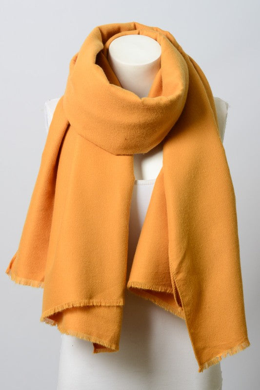 Solid Blanket Scarf with Frayed Edge