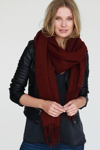 Burgundy Scarf With Fringe