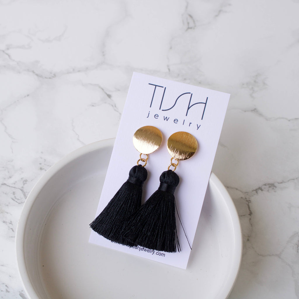 Short Black Tassel Earrings