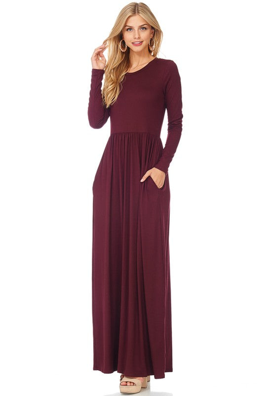 Long Sleeve Fit and Flare Solid Maxi Dress