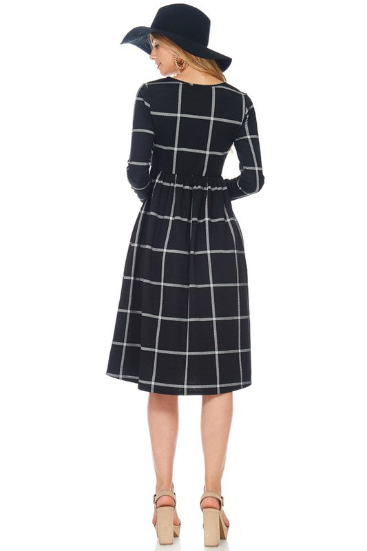 Windowpane Check Midi Dress