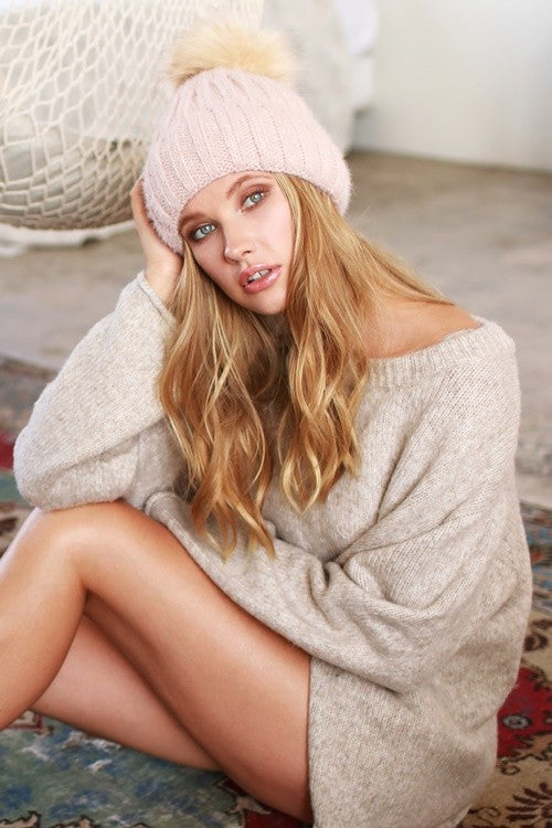 Ribbed Beanie with Faux Fur Pompom