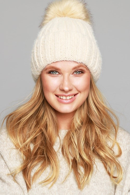 Soft Fuzzy Ribbed Beanie with Faux Fur Pompom